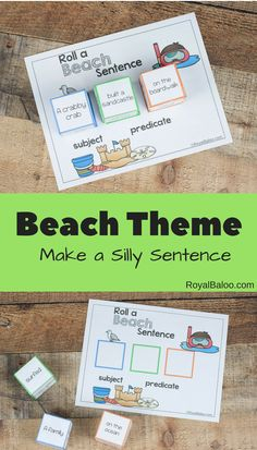 Fun Reading Practice with Beach Silly Sentences - Royal Baloo Silly Sentences, English Sentences, Ocean Activities, Reading Activities, Alpha Phonics, Sentence Types, Teaching Displays, Sentence Building, Summer Fun For Kids