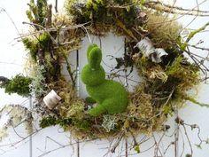 Autumn Wreaths For Front Door, Easter Wreaths, Holiday Wreaths, Moss Wreath, Twig Wreath, Easter Gift, Easter Bunny, Easter Decor, Outdoor Wreaths