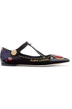 Dolce & Gabbana - Embellished Printed Glossed-leather Point-toe Flats - Black