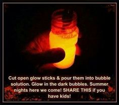 Glow in the Dark bubbles, goinf to try these at the next bonfire