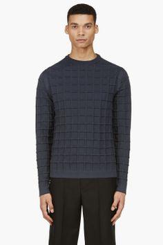 Paul Smith Navy Waffle Knit Crewneck Sweater for men | SSENSE
