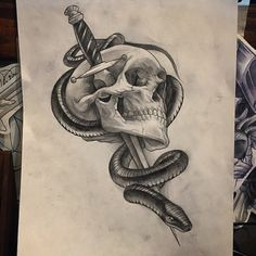 Tattoo design scull knife snake