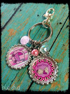 "Pink ""Baby Girl"" Theme... Bottle Cap Diaper Bag Charm...Keychain  on Etsy, $10.00"