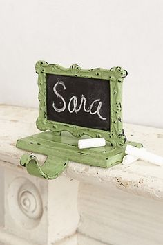 Chalkboard stocking hook... these are so cute!