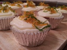 Lemon orange cupcakes with lemon, lime and orange candied zest. Order from us at SugarMagnoliaBakes@gmail.com