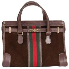 Preowned Rare 1970s Gucci Brown Suede Doctor's Bag Handbag Tote... ($750) ❤ liked on Polyvore featuring bags, handbags, tote bags, brown, gucci tote bag, brown tote, brown suede handbag, brown purse and tote handbags