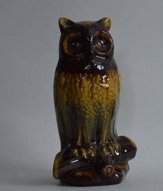 Vintage HTF Harvest Gold Blue Mountain Pottery BMP Great Horned Owl Large Figurine by Retrorrific on Etsy