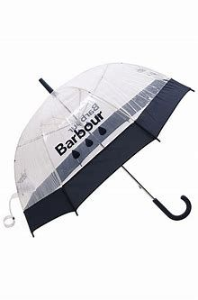 Don't let showers dampen your day - keep dry with the Barbour raindrop umbrella. Designed with a colour-pop border, a raindrop logo graphic and a crooked handle, this bubble-style umbrella adds colour and character to rainy days. Trust Barbour to keep you dry in classic style with this Barbour-branded Raindrop Umbrella. Bubble design protects you from wind, too, and allows a clear view whether you're navigating city streets or village lanes. J-hook handle is easy to hold.