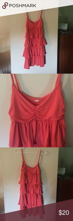 J Crew Spaghetti Strap Ruffle Dress EUC - no rips or stains. Smoke-free home. Fun summer dress. 95% Modal Rayon, 5% spandex. Coral color. J. Crew Dresses Midi