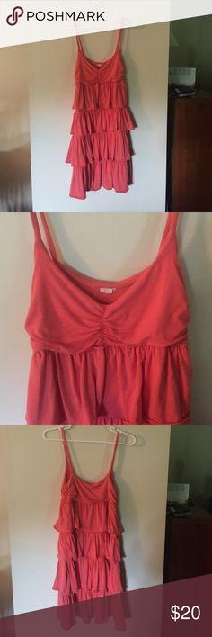 J Crew Spaghetti Strap Ruffle Dress EUC - no rips or stains. Smoke-free home. Fun summer dress. 95% Modal Rayon, 5% spandex. Coral color. J. Crew Dresses Midi