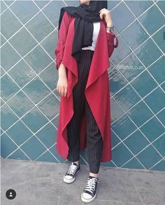 red waterfall cardigan-Casual hijab summer looks – Just Trendy Girls