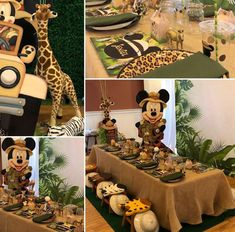 My Little Angel Decorations 's Birthday / Mickey Mouse Safari - Photo Gallery at Catch My Party Boys First Birthday Party Ideas, Mickey Mouse First Birthday, Wild One Birthday Party, Baby Boy 1st Birthday, Mickey Party, Boy Birthday Parties, Safari Theme Birthday, Safari Party, Animal Birthday