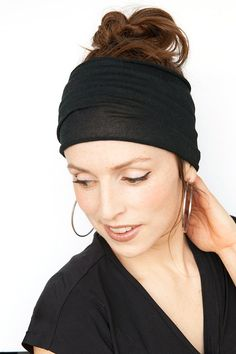 Black Headband Wide Headband Tube Headband Yoga Headband Boho Headband  Workout Headband Women Hair Accessories Black Headwrap Black Hairwrap 52ea98b49b