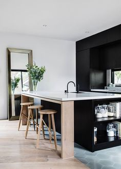 Awesome kitchen island with sink interesting change from black to natural wood wider than I