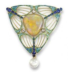 AN ART NOUVEAU OPAL, PEARL AND ENAMEL BROOCH, BY GEORGES FOUQUET  circa 1900