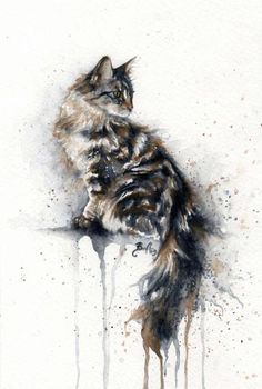 Intent: Watercolor by Braden Duncan (2009) #watercolor #cat #braden_duncan