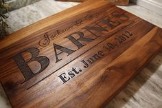 Personalized Wedding Gift or Anniversary Gift - Custom engraved cutting board the perfect Bridal Shower Gift - Naked Wood Works Engraved Cutting Board, Personalized Cutting Board, Wedding Gifts For Couples, Personalized Wedding Gifts, Wedding Ideas, Anniversary Gift For Her, Wedding Anniversary Gifts, 9th Anniversary, Bridal Shower Gifts