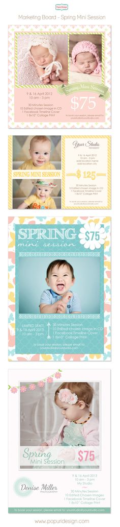 Getting ready to rock some Spring Minis with adorable clients? Grab their attention with this sweet and cute marketing board from PopuriDesign. Great for printing and also use digitally for your newsletter or website/blog/Facebook Page