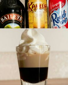 BLOW JOB SHOT  Layer:  ¾ oz kahlua  ¼ oz bailey's irish cream   top with whip cream - NO HANDS