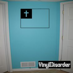 Cross flag Wall Decal - Vinyl Decal - Car Decal - DC040