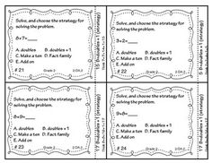 Adding and subtracting with fluency with a focus on doubles and doubles plus 1 strategy. This set of 28 self checking task cards focuses on CCSS 2.0A.2 (Fluency in Addition and Subtraction within 20- with doubles and doubles +1 strategy)
