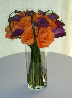 Purples and Orange Rose and Calla Lily Bouquet