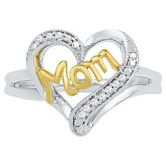 1/20 CT. T.W. Round Diamond Prong Set Heart Ring in Sterling Silver with Yellow Plating (4.5), Women's, Variation Parent