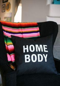 Homebody heat transfer text pillow