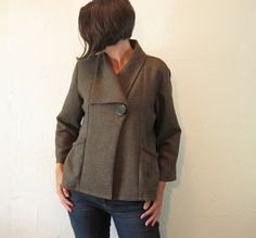 Linen Jacket with Shawl Collar Chocolate Brown with by careydion