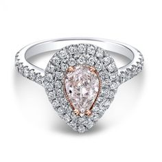 Fancy Pink The One Pear Diamond Halo Engagement Ring Wedding Day Diamonds Two Tone Engagement Rings, Halo Diamond Engagement Ring, Pear Diamond Rings, Pear Shaped Diamond, Colored Diamonds, Wedding Rings, Wedding Stuff, Wedding Ideas, Fancy