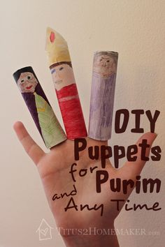 DIY Puppets for Purim (and Any Time) -- Titus 2 Homemaker Preschool Crafts, Diy Crafts, Jewish Crafts, Holidays With Kids, Spring Crafts, School Projects, Homemaking, Puppets, Frugal