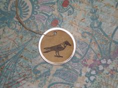 Crow Gift Tags Metal Rim Gift Tags with Crow by CoffeeStainedTags