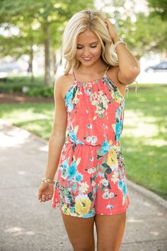 Because Of Your Love Romper Coral
