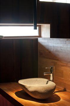 In distant Patagonia, a unique and strange hotel and spa has an otherworldly feeling. Visual Merchandising, Patagonia Hotel, Black Granite Sink, Restaurant Hotel, Stone Sink, Sink Design, Diy Bathroom Decor, Downstairs Bathroom, Modern Bathroom