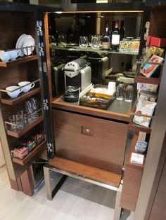 Custom & DIY Minibar Design Inspirations and Ideas for your Mancave Hotel Minibar, Coffee Cabinet, Bedroom Bar, Wine Cellar Design, Lobby Bar, Hotel Room Design, Built In Furniture, Hotel Interiors, Room Planning