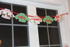 ugly sweater banner Steinbrecher we could sooo do this with the cricut! Tacky Christmas Party, Tacky Christmas Sweater, Xmas Party, Party Time, Christmas Holidays, Christmas Ideas, Ugly Sweater Cookie, Ugly Xmas Sweater, Xmas Sweaters