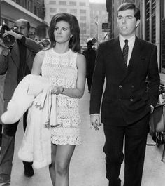 Raquel Welch wore a sexy crochet dress for her February 1967 Paris wedding to Hollywood producer Patrick Curtis. Movie Wedding Dresses, Yellow Wedding Dress, Crochet Wedding Dresses, Celebrity Wedding Dresses, Wedding Movies, Celebrity Weddings, Wedding Gowns, Raquel Welch, Pink Gowns