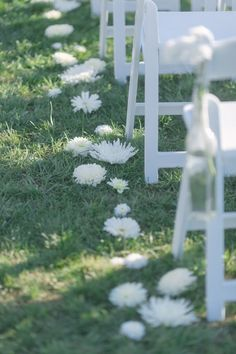 Simple Wedding Aisle Decor: Flowers in the Grass