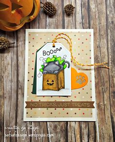Inky Paws Challenge #36 Halloween | Trick or Treat Kitty card by Zsofi | Newton's Birthday Bash Stamp set by Newton's Nook Designs #newtonsnook