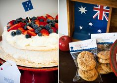 Australia Day party ¸. Australian Sweets, Australia Day Celebrations, Aus Day, Aussie Bbq, Bon Voyage Party, Australia Landscape, Anzac Day, Pavlova, Dessert Table