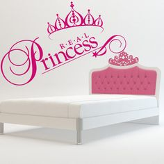 Wall decal decor decals real princess crown nursery inscription letter cartoon cheerful girl story Wall Stickers Murals, Wall Decal Sticker, Real Princess, Painting Quotes, Toy Chest, Wall Decor, Nursery, Hand Painted, Lettering