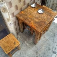Wooden table out of a typical turkish bar, Istanbul