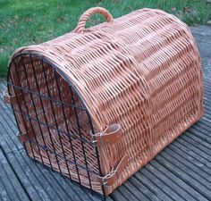 Wicker cat carriers how they used to look.