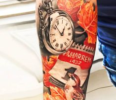 Watch with Maple leaves tattoo by Alex Noir