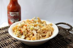Buffalo Chicken Pasta Salad... Prefect for a summer BBQ