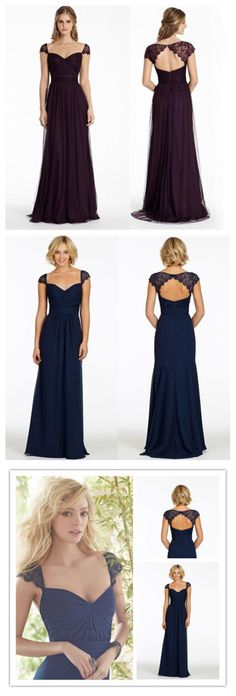 Elegant Tulle Lace Cap Sleeve Backless Long Wedding Bridesmaid Dresses, WG345