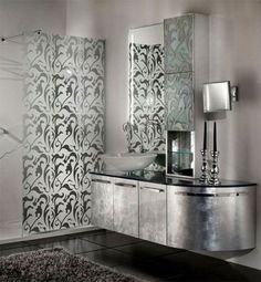 srebrna łazienka piekne fronty