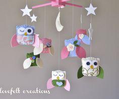 Baby Crib Mobile - Baby Mobile - Owl and birds mobile - Pottery Barn Brooke Bedding - Hayley Bedding. $145,00, via Etsy.