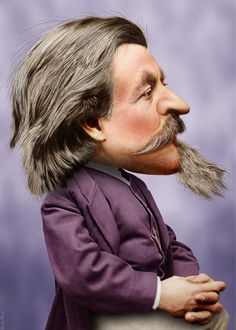 Thomas Nast, caricature by DonkeyHotey. The father of modern American political caricature, Nast worked for Harper's Weekly from 1859 to 1886 drawing cartoons about corruption in NY, and the Civil War. He created the version of Santa Claus we think of today