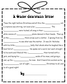 I grew up with Mad Libs and loved them. My family would sit and take turns filling out those darn things and pretty much laugh ourselves se. Holiday Games, Christmas Party Games, Christmas Activities, Holiday Fun, A Christmas Story, Christmas Holidays, Christmas Crafts, Family Christmas, Christmas Mad Libs For Kids